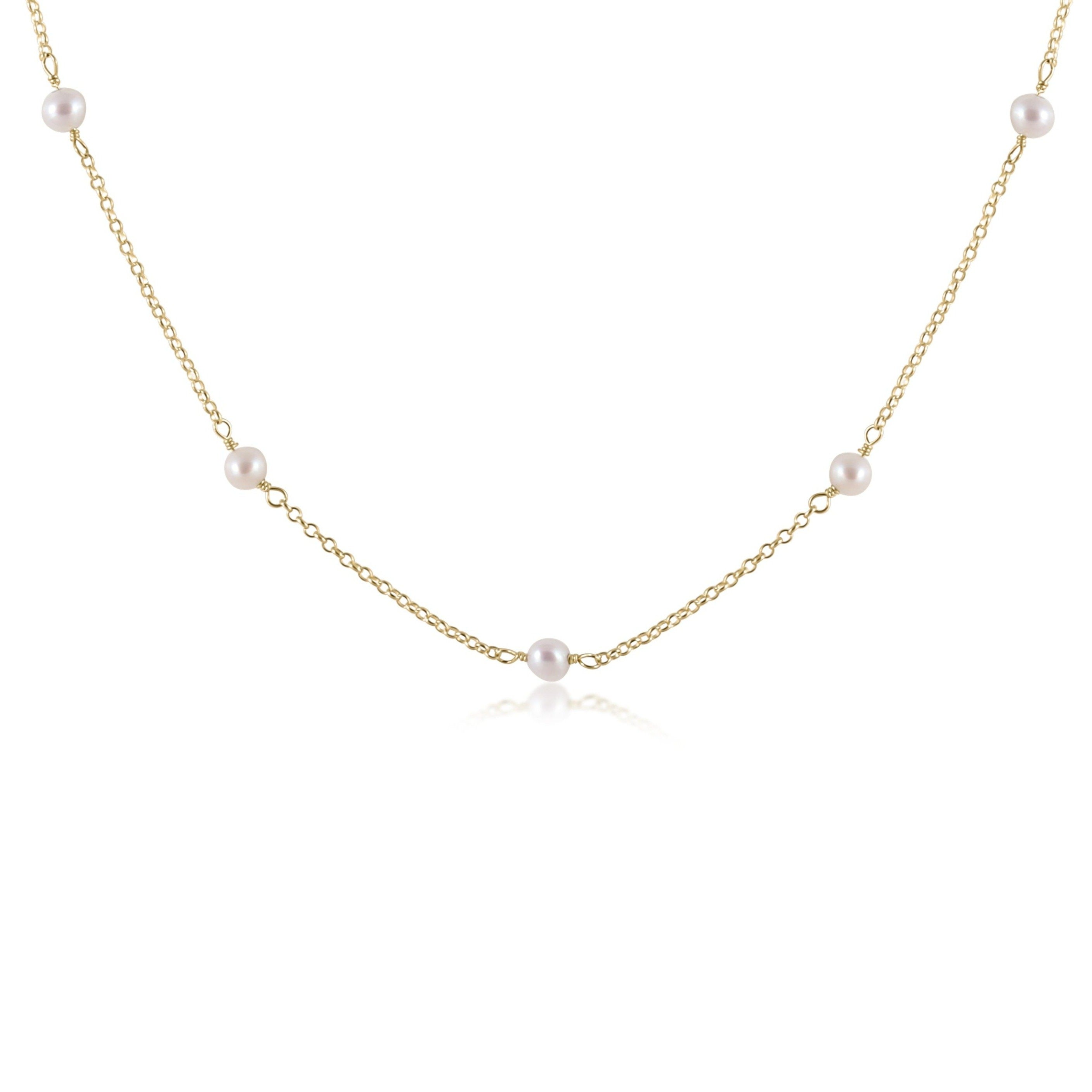 "15"" Choker Simplicity Chain Gold - 4mm Bead Pearl"