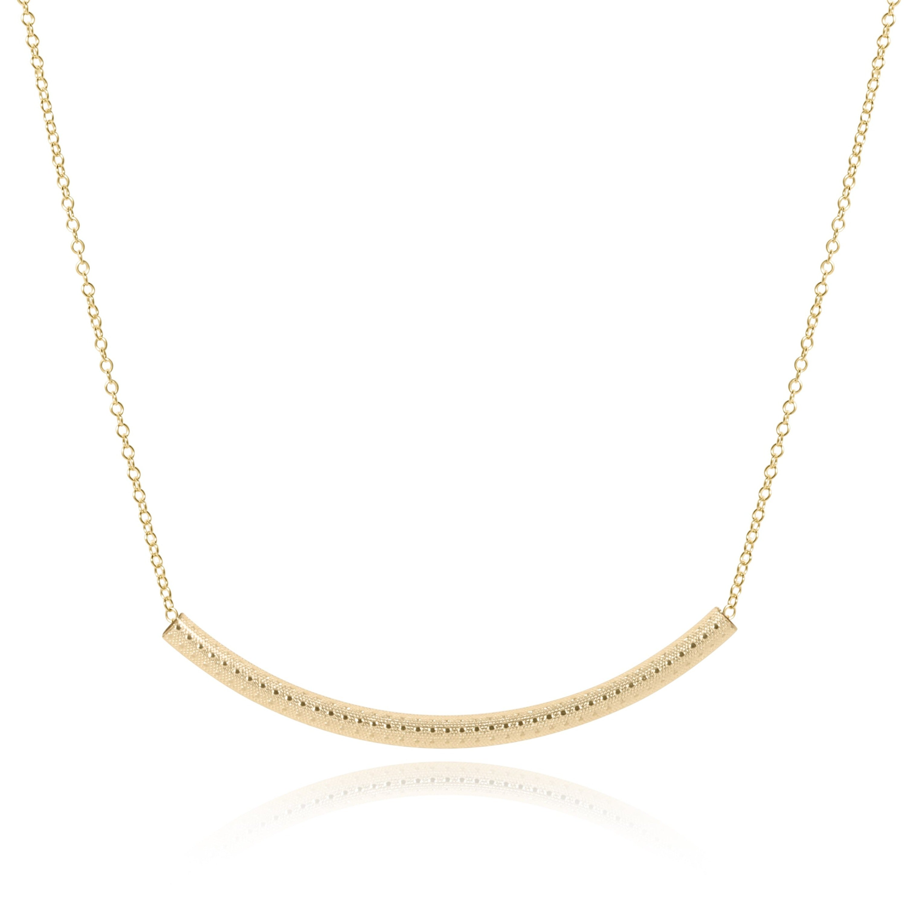 "16"" necklace gold - bliss bar textured gold"