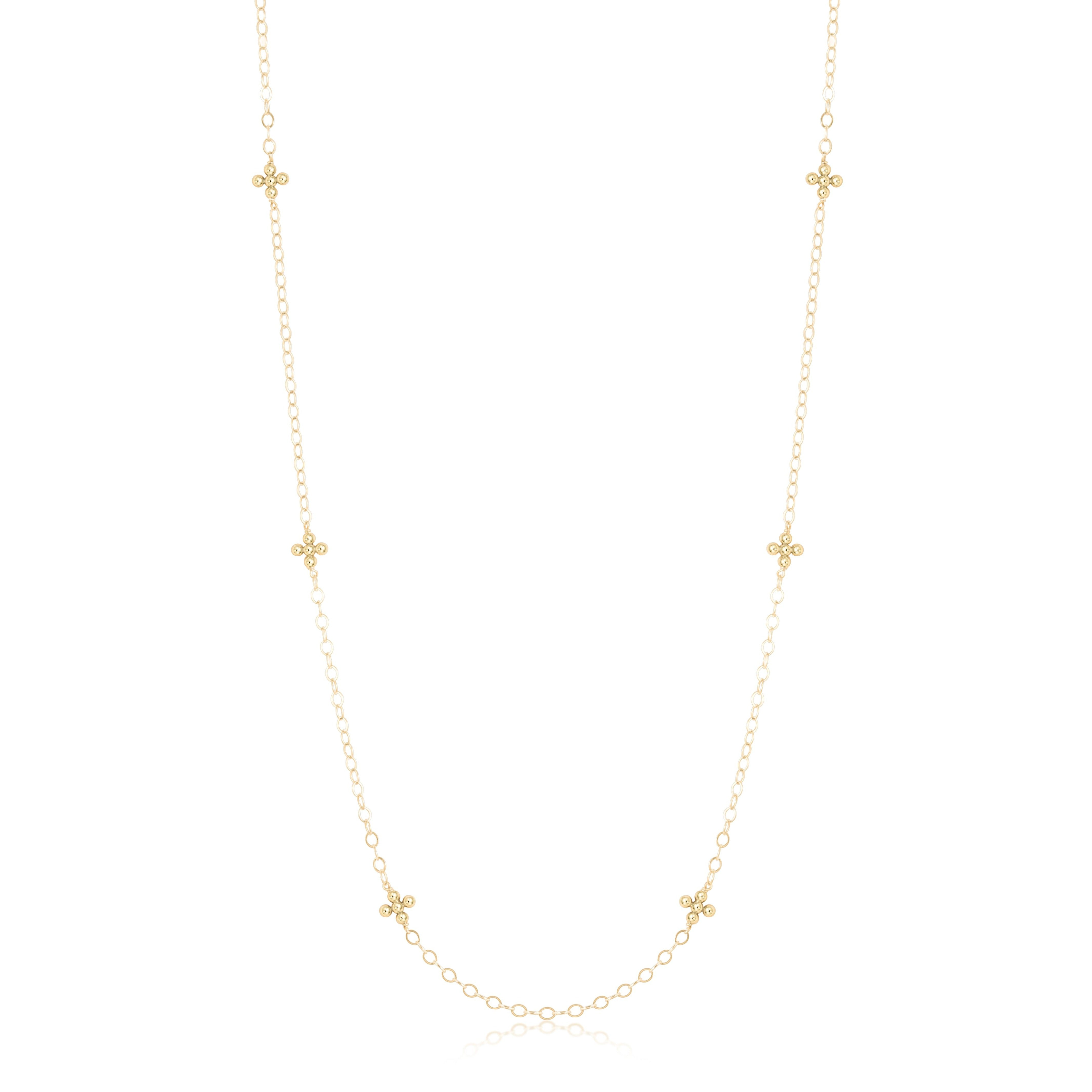 "41"" Necklace Simplicity Chain Gold - Classic Beaded Signature Cross Gold"