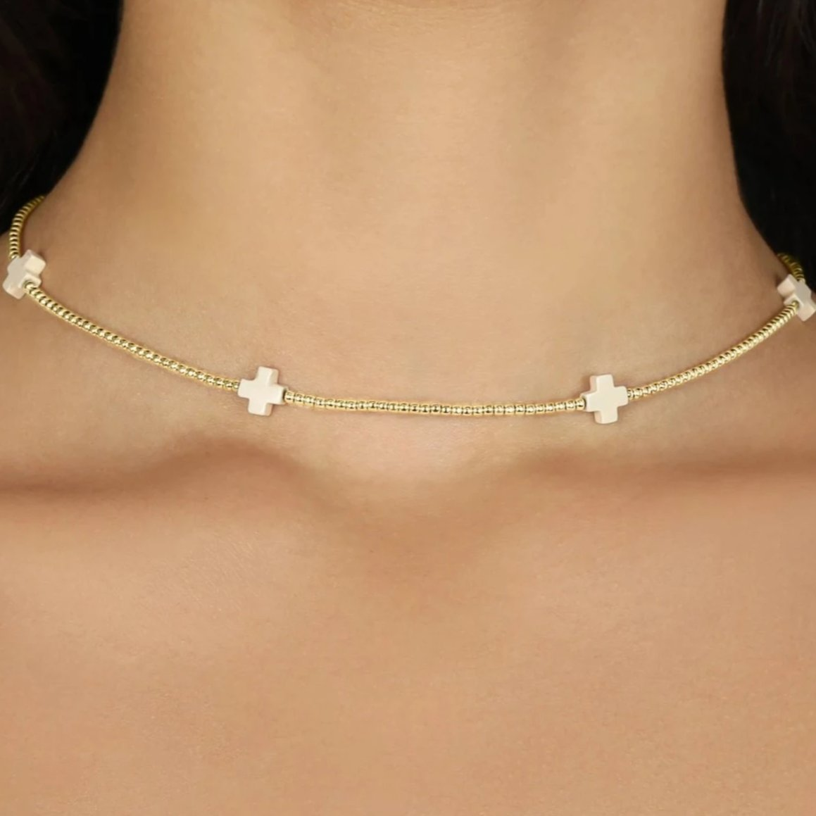 "15"" Choker Signature Cross Gold Pattern 2mm Bead"