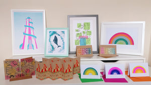 a set up of all my screenprints and risograph wall art and cards