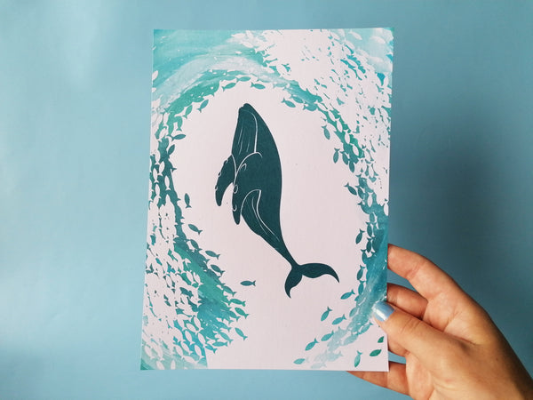 Whale Whirlpool A5 Screen Print