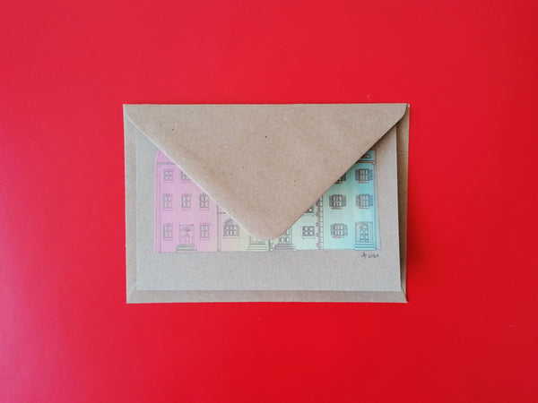 Rainbow Houses Pastel Screen Print A6 Card