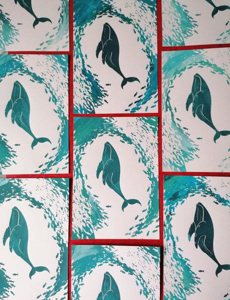 Seconds Whale Whirlpool A5 Screen Print