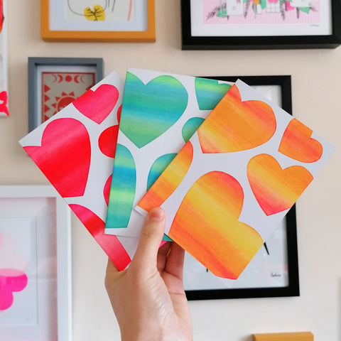 Heart Colour Mix Screen Print A6 Card - 3 Pack