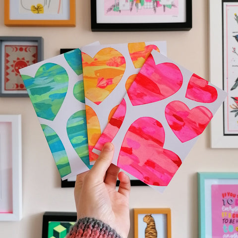 Heart Patchwork Screen Print A6 Card - 3 Pack