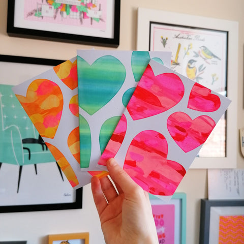 Heart Screen Print A6 Cards - 3 Pack Mixed