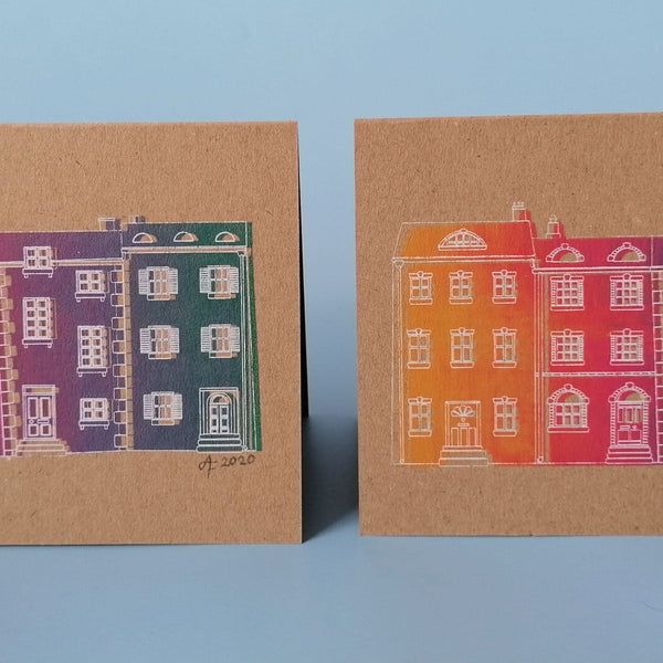 Rainbow Houses Screen Print A6 Card