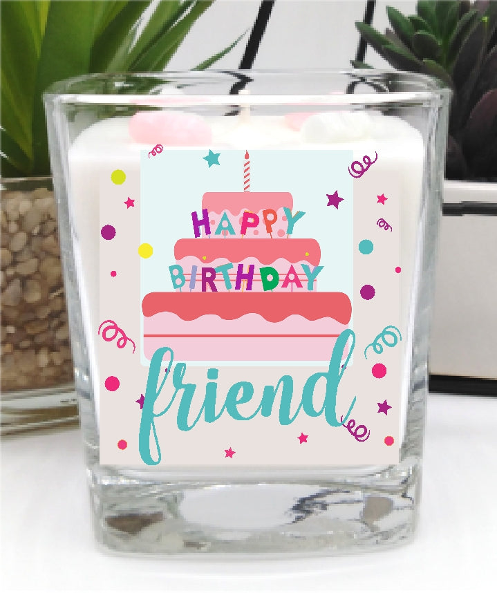 Happy Birthday Friend Square Candle