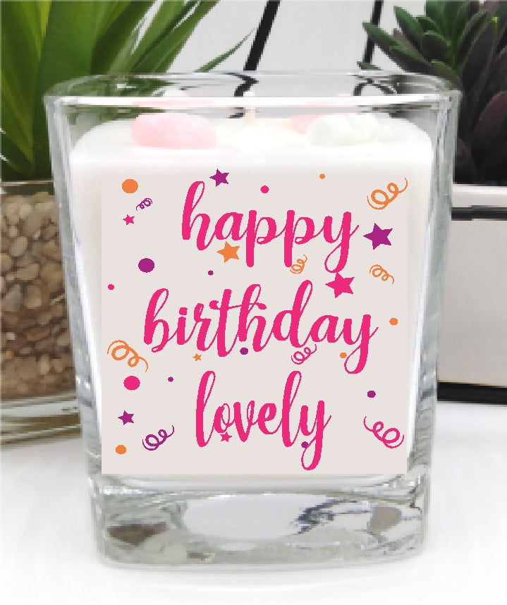 Happy Birthday Lovely Square Candle