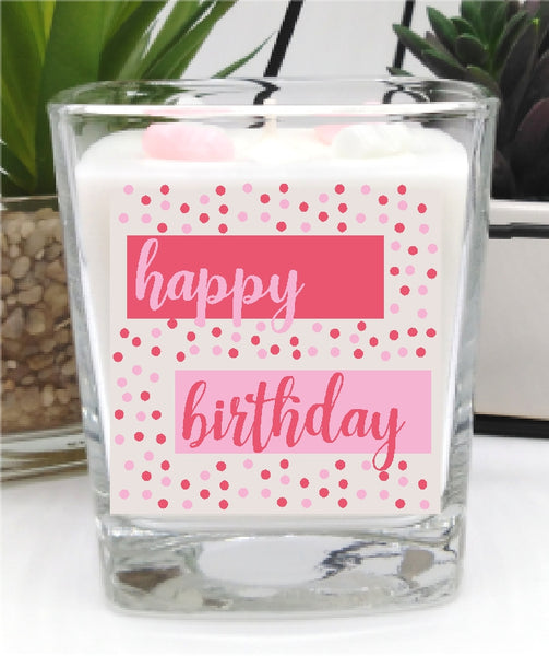 Happy Birthday Square Candle Jar