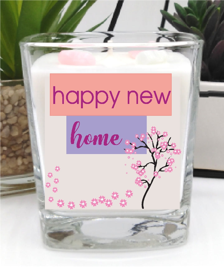 Hppy New Home Square Candle Jar