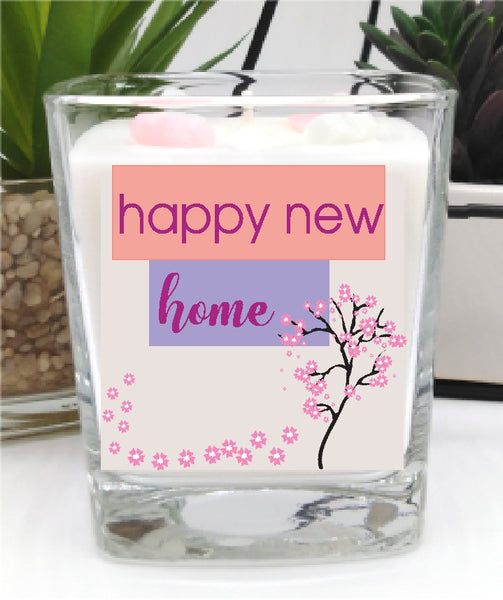Happy New Home Square Candle Jar