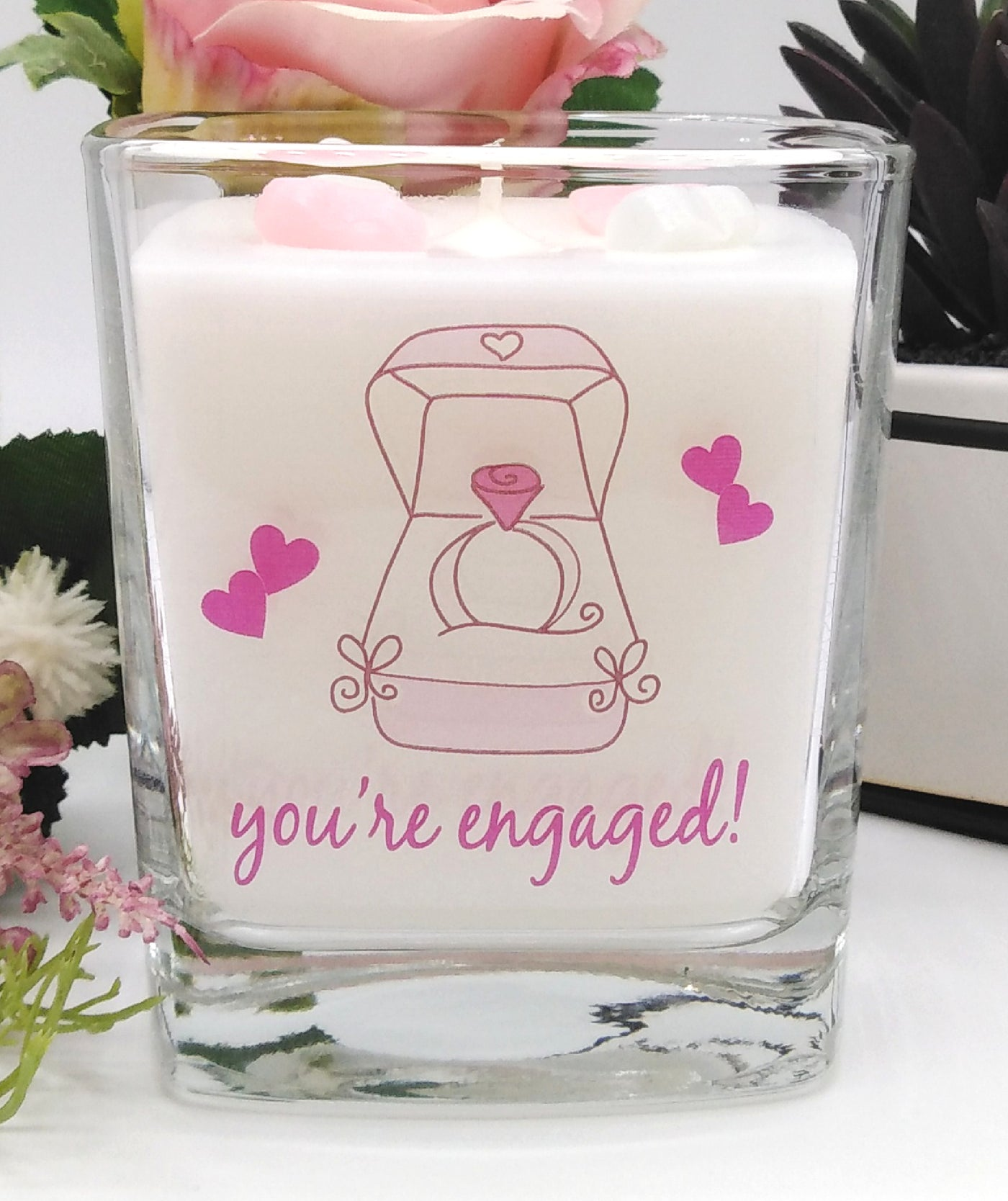 You're Engaged Square Candle Jar