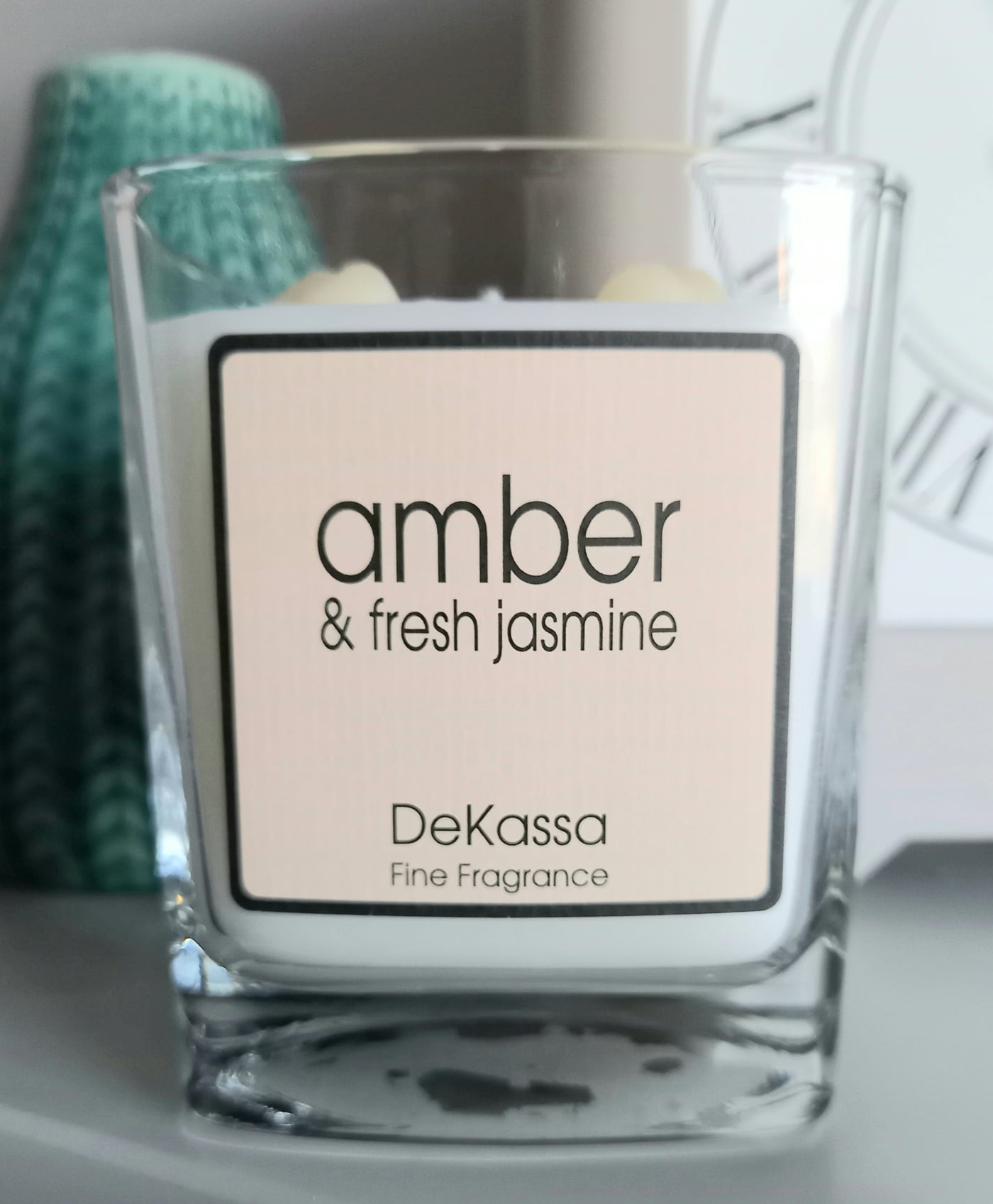 Amber & Fresh Jasmine - Luxury Square Scented Candle