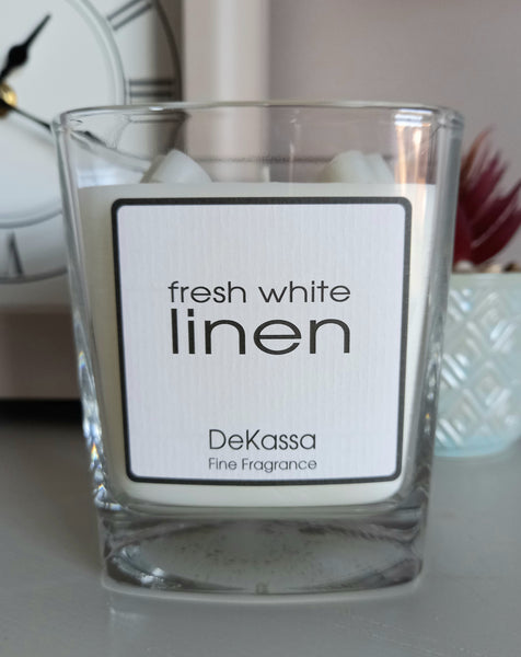 Fresh White Linen - Luxury Square Scented Candle
