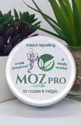 MOZpro insect repelling candle tin, smells fab and really works!  Vegan friendly