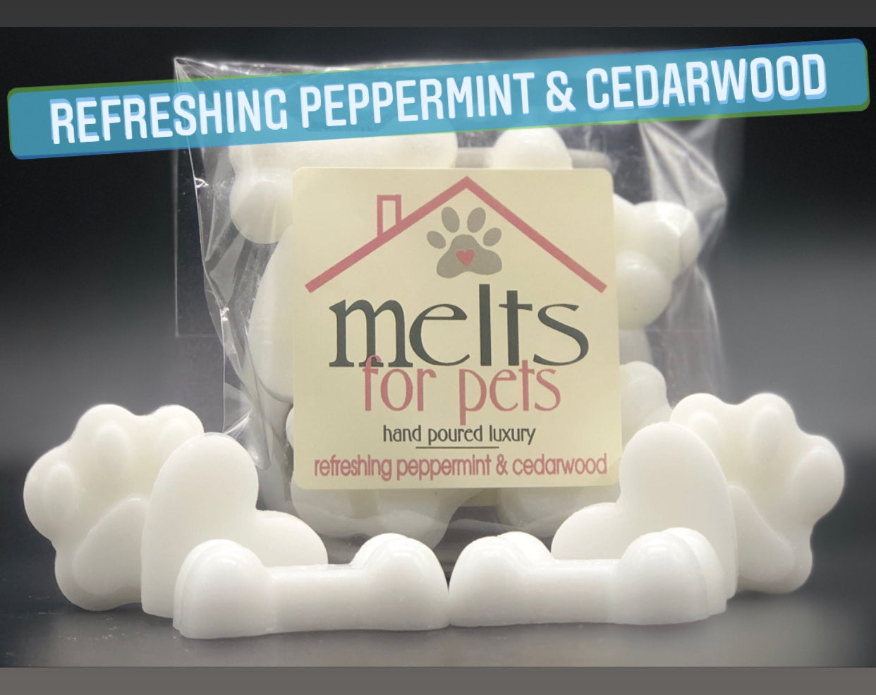 refreshing peppermint & cedarwood, luxury pet friendly wax melts - pack of 6!