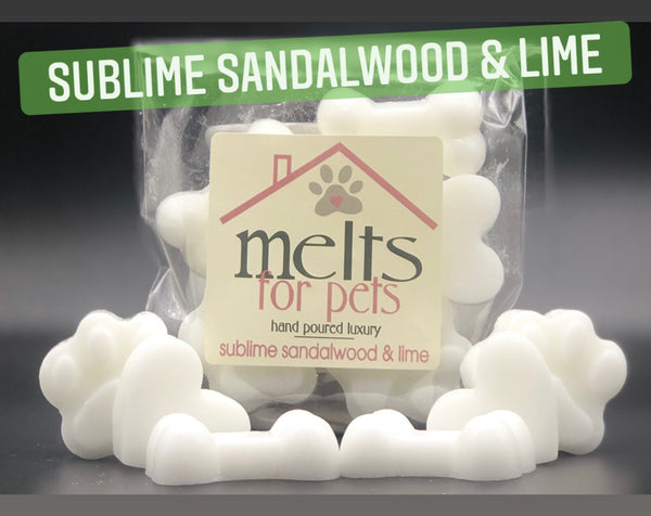 sublime sandalwood & lime, luxury pet friendly wax melts - pack of 6!