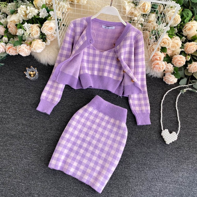Ensemble Plaid Rose