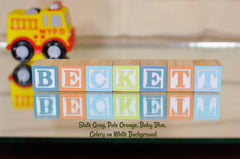 Baby Name or Phrase -  4 Wooden Alphabet Blocks
