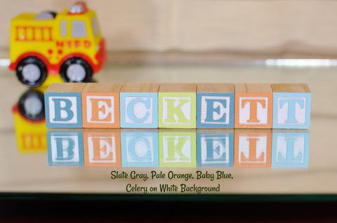 Baby Name or Phrase -  7 Wooden Alphabet Blocks