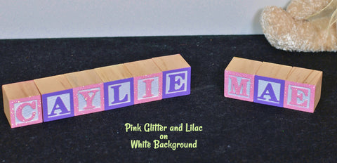 Baby Name or Phrase with Glitter Finish - 9 Wooded Alphabet Blocks
