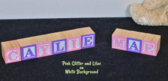 Baby Name or Phrase with Glitter Finish - 6 Wooded Alphabet Blocks