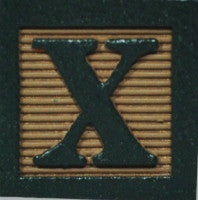 Dark Green on Khaki - Wooden Alphabet Block