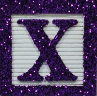Dark Purple Glitter on White - Wooden Alphabet Blocks