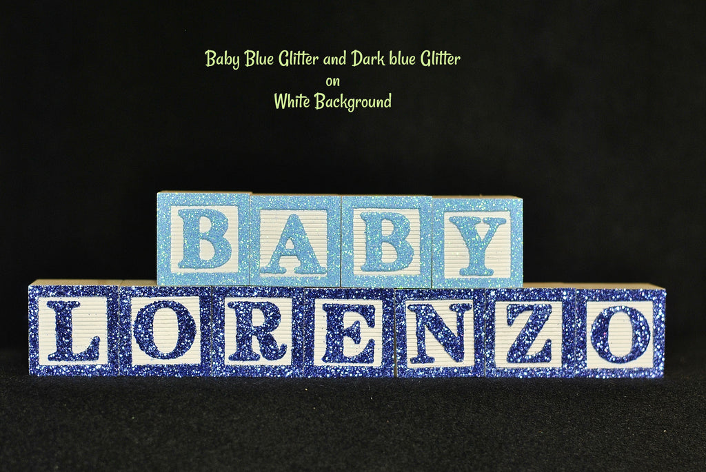Baby Name or Phrase with Glitter Finish - 11 Wooded Alphabet Blocks