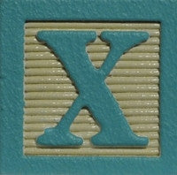 Aqua on Ivory - Wood Alphabet Block