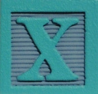 Aqua on Slate Gray - Wood Alphabet Block