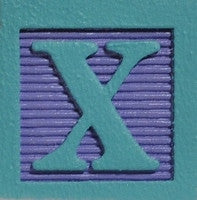 Aqua on Lilac - Wood Alphabet Block