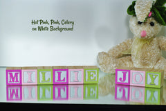 Baby Name or Phrase - 14 Wooden Alphabet Blocks