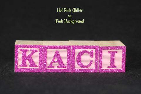 Baby Name or Phrase with Glitter Finish - 4 Wooded Alphabet Blocks