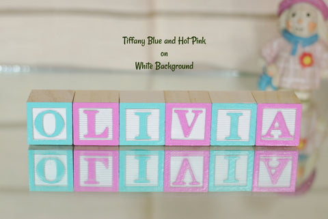 Baby Name or Phrase -  6 Wooden Alphabet Blocks