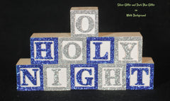 Baby Name or Phrase with Glitter Finish - 14 Wooded Alphabet Blocks