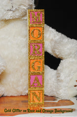 Baby Name or Phrase with Glitter Finish - 7 Wooded Alphabet Blocks