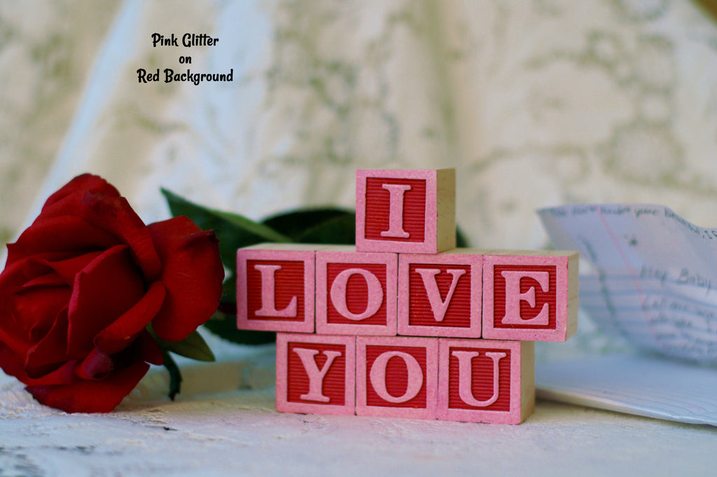 I Love You for Valentines Day - 8 Wooden Alphabet Blocks
