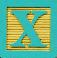Tiffany Blue on Pale Yellow - Wood Alphabet Block