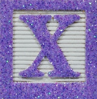 Light Purple Glitter on White - Wooden Alphabet Blocks