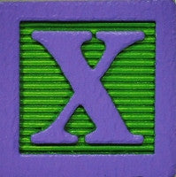 Lilac on Lime Green - Wood Alphabet Block