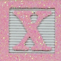 Pink Glitter on White - Wooden Alphabet Blocks