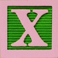 Pink on Lime Green - Wood Alphabet Block