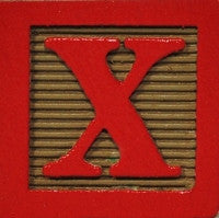 Red on Khaki - Wood Alphabet Block