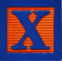 Royal Blue on Orange - Wood Alphabet Block