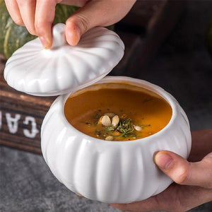 Soup Bowl Creative Multipurpose Pumpkin Shape Ceramic Bowl Serving Bowl with Lid Food Storage Jar Container