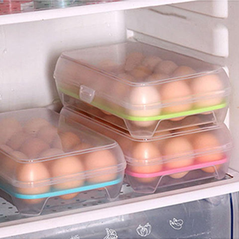15 Grid Kitchen Refrigerator Egg Box Storage Box Practical Creative Home Portable Plastic Picnic Food Storage Box