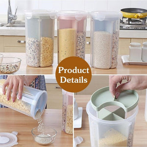 FUNIQUE Rice Beans Stoarge Jar With Seal Cover 4 Lattices Refrigerator Food Preservation Container Plastic Kitchen Storage Box